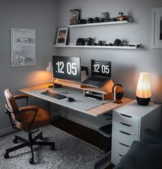 Image may contain: people sitting, screen, office, table and indoor – Modern Home Office Design Home Office Setup, Home Office Space, Home Office Design, Office Table, Office Ideas, Office Workspace, Modern Home Office Desk, Home Studio Setup, Medical Office Design