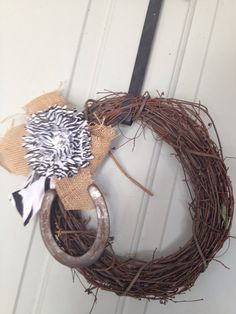 Burlap and Horse Shoes with Wine Grape Vines Rustic Western Country Home Decor   and by DixieCowgirls, $20.00