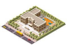 Vector isometric school by tele52 on Creative Market