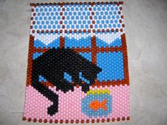 CAT With a FISHBOWL Beaded BANNER by woodenwonderknits on Etsy