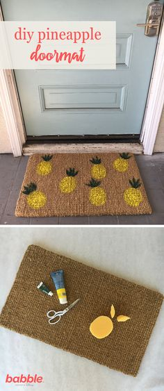 Welcome your guests with this bright DIY Pineapple Doormat. A symbol of hospitality, the fruits are also wonderfully trendy and pretty too! All you need is a plain doormat, sponge, and some acrylic paint.