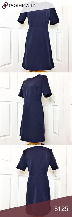 """Ann Taylor A-Line Dress Gorgeous dress by Ann Taylor.  NWT.  Navy blue in color with elbow length sleeves.  Perfect for the office and then out for cocktails with your gals.  Material is 88% polyester and 12% spandex.  Measurements laid flat: bust 18"""", waist 16"""", hip 20.5"""" and length from top of shoulder to hem 36"""". Ann Taylor Dresses"""