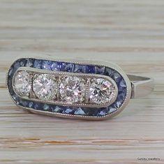 Art Deco 0.80 Carat Diamond  French Cut Sapphire Cluster Ring, Platinum, circa 1940 on Etsy, $3,870.63