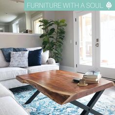 Coffee Table $320 We are LOVING the coastal vibes in this room 🌊 Create a coastal paradise of your own with pieces from Nadeau! 📷: @coastalkelder Nadeau Furniture, Color Pop, Coastal, Dining Table, Blue And White, Design Inspiration, We Are Love, Warm, Coffee