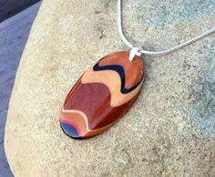 Modern Tribal Oval Sculpted Handmade Exotic Wood Bead Pendant Necklace 18 inch Sterling Silver Snake Chain by WoodenItBeadLovely