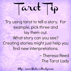 Tarot Tip try using tarot to tell a story. You may just find new interpretations. Tarot tips. Get an Online Psychic Reading from one of our Online Psychic Readers in the comfort of your own home/office. Tarot Cards For Beginners, Tarot Card Spreads, Tarot Astrology, Tarot Card Meanings, Tarot Readers, Card Reading, Reading Tips, Tarot Decks, Learning