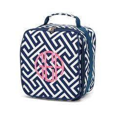 Personalized Navy Geo Print Lunch Bag  Monogrammed Navy Geo Lunch... ($19) ❤ liked on Polyvore featuring home, kitchen & dining, food storage containers, bags, outdoor storages, lunch tote, lunch box and monogrammed lunch box