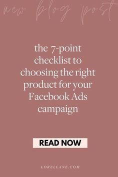 7-point checklist to choosing the right product for your Facebook Ads campaign. Read this article to learn more about how to get started with Facebook Ads - perfect for beginners, what is a Facebook Ads campaign, Facebook Ads targeting tips for small business owners and how to use Facebook Ads as your lead generation machine. #facebookads