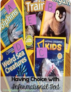 Giving Students Choices with Informational Text- great freebie for doing this!!