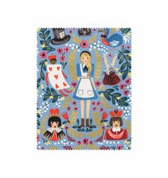 Wonderland (Periwinkle) Screen-Printed Cotton Fabric with Metallic Ink