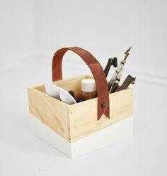 wood box with diy leather handle