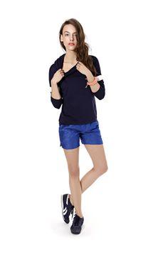 Spring summer 2014, dark blue hoodie, cornflower blue sporty shorts. #sportystyle #cornflowerblue Summer 2014, Spring Summer, Sports Luxe, Blue Hoodie, Sporty Style, Dark Blue, Hoodies, Shorts, Clothes For Women