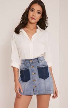 Bayley Light Wash Patch Pocket Denim Mini Skirt Image 1