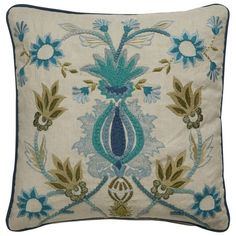 """Jaipur Rugs Dekota 18"""" Square Cotton Pillow in Ivory and Green - PLW102618"""