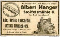 Original-Werbung/ Anzeige 1912 - HARTHOLZ - RIEMSCHEIBEN / ALBERT MENGER - STOFFELSMÜHLE (BAYERN) - ca 100 x 55 mm