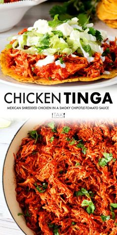 Easy Chicken Tinga Recipe, Latin Chicken Recipe, Chipotle Recipes, Tostada Recipes, Salad Recipes, Mexican Shredded Chicken, Mexican Dishes With Chicken, Mexican Chicken Tacos, Chicken Tostadas