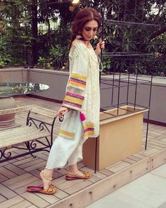 Image may contain: 1 person Pakistani Dresses Casual, Pakistani Dress Design, Simple Dresses, Casual Dresses, Pakistani Couture, Indian Ethnic Wear, Indian Designer Wear, Asian Fashion, Ethnic Fashion