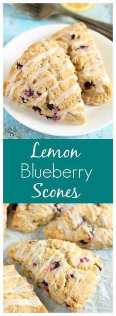 Lemon blueberry scones topped with a sweet lemon glaze. These Lemon Blueberry Scones are perfect for breakfast and so easy to make!