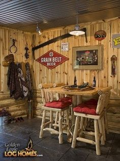 Basement Wall Idea: Walls covered in warm pine tongue-and-groove siding, and a wood and stone fireplace give this basement a rustic log-cabin feel. Description from pinterest.com. I searched for this on bing.com/images