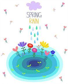 일러스트/페인터/봄/사람없음/색/무늬/구름/물방울/비/꽃/컬러풀/연못/ Art For Kids, Rain, Pencil, Colours, Illustrations, Spring, Design, Art For Toddlers, Rain Fall