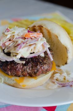 I honestly haven't made the burgers but I cannot get enough of the slaw. I've made it probably a half dozen times this summer!  Island Jerk Burgers by Pennies on a Platter, via Flickr
