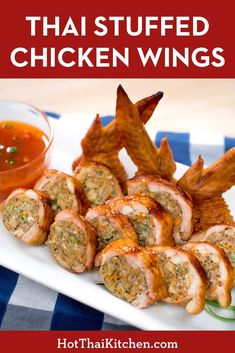 Stuffed Chicken Wings Recipe ปีกไก่ยัดไส้ A unique and delicious appetizer recipe that's perfect for the holidays. Wings stuffed with pork and glass noodles. Guaranteed to get people talking! Easy Asian Recipes, Easy Homemade Recipes, Thai Recipes, Side Dish Recipes, Cooking Recipes, Thai Appetizer, Yummy Appetizers, Appetizer Recipes, Asian Appetizers
