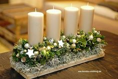 Christmas candle centerpiece # Christmas decoration # central room You are in the right place about christmas holidays Here we offer you … Christmas Candle Centerpieces, Christmas Candles, Christmas Crafts, Christmas Decorations, Christmas Ornaments, Floral Centerpieces, Advent Candles, Diy Candles, Table Decorations