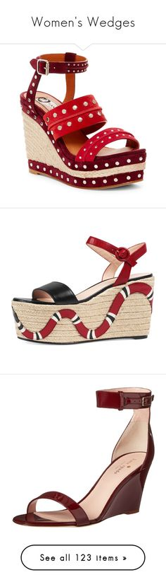 """Women's Wedges"" by danielle-valentine-666 ❤ liked on Polyvore featuring shoes, sandals, wedges, red, wedge sandals, espadrille wedge sandals, studded wedge sandals, platform espadrilles, red suede sandals and shoes espadrilles"