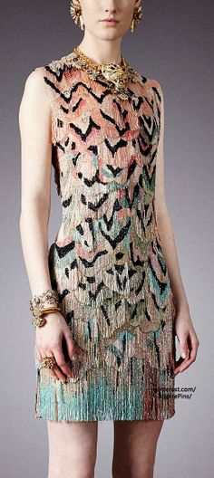 Amazing patterned cocktail dress - Pre-Fall 2014 Roberto Cavalli (lookbook)