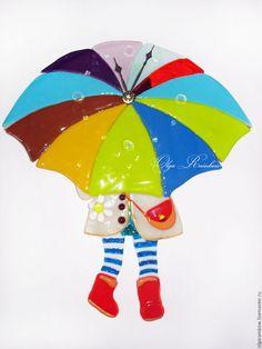 """Часы для дома ручной работы. Ярмарка Мастеров - ручная работа. Купить Часы фьюзинг """"Девочка под зонтиком"""". Handmade. Комбинированный"""