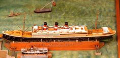 Model for the proposed liner Kaiserin Elizabeth, for the Austro-Americana line it was proposed to enter service in March but work was stopped with the outbreak of World War I and it was later destroyed. Austro Hungarian, Cruise Ships, World War I, Titanic, March, Ocean, Classic, Model, Cruises