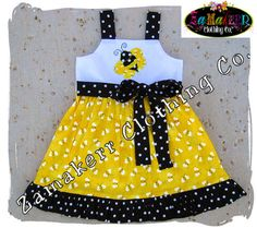 Custom Boutique Clothing Cute Girl Bumble Bee Aline Jumper Ruffle Dress 3 6 9 12 18 24 month size 2T 2 3T 3 4T 4 5T 5 6 7 8 on Etsy, $35.99