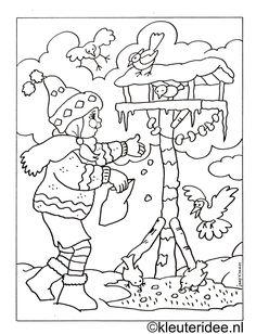 Colouring girl with birdhouse, kleuteridee.nl.