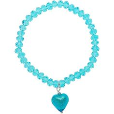 Martick Faceted Crystal Murano Heart Bracelet ($18) ❤ liked on Polyvore featuring jewelry, bracelets, turquoise, beads jewellery, facet jewelry, heart jewellery, crystal beaded jewellery and beaded bangles