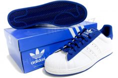 info for 06ea5 f242e ADIDAS Superstar II 160284 White   Blue From the basketball court to the  hip-hop stage to the streets, the adidas Superstar 2.0 shoes are a living  legend.