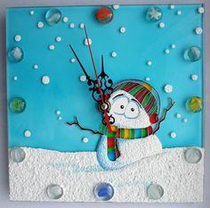 "Gallery.ru / Часы ""Снеговик"" 20*20 см. - Часы - enehi"