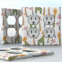 DIY Do It Yourself Home Decor - Easy to apply wall plate wraps   Lunchtime  Giraffes and palm trees  wallplate skin sticker for 2 Gang Wall Socket Duplex Receptacle   On SALE now only $4.95