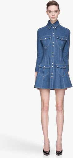 Blue Cotton Twill Denim Dress - Lyst