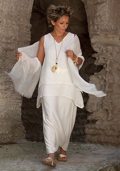 Off white layered linen gauze top with sarouel skirt