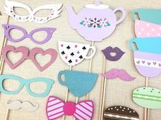Tea Party Photo Booth Props. #teaparty #partyideas #photoprops
