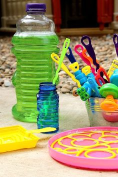 Make your own bubble solution & store in old juice bottles (you can make your own wands, too!)