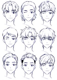 Anime Drawings Sketches, Anime Sketch, Cute Drawings, Hair Drawings, Oc Drawings, Drawing Faces, Beautiful Drawings, Pencil Drawings, Boy Hair Drawing