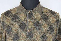 ERMENEGILDO ZEGNA Mens LS Polo Sweater sz M/50 Medium Brown Geometric Italy Made #ErmenegildoZegna #Polo
