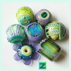 Lavender Fields BLING  7 beautiful beads  lampwork by by zbeads, $185.00