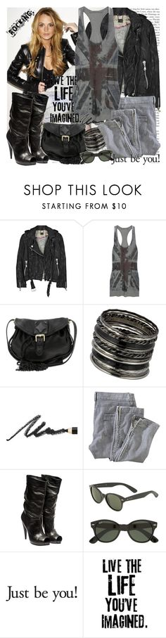 """Rock style: Lindsay Lohan"" by fashionqueengirl ❤ liked on Polyvore featuring Doma, Superfine, Whistles, Oasis, Benefit, Alexander McQueen, Ray-Ban and OUTRAGE"