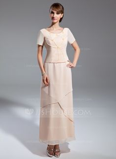 A-Line/Princess Scoop Neck Ankle-Length Beading Zipper Up Sleeves Short Sleeves Other Colors Spring Fall General Plus Chiffon Mother of the Bride Dress