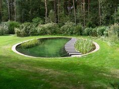 A natural pool can look any way you like it to, as long as you have a planted area to clean the swimming water. The planted area should be at least as large as the swimming area, and a small pump should ensure the water flows constantly through the plants.  I saw this photo at Heaven is a Garden