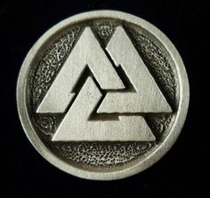 Valknut Button. The Valknut is an ancient Norse symbol. It is often called Hrungnir's Heart, after the legendary giant of the Edaas. It is also know as the knot of the calin, and it has been found on stone carvings with funerary motifs, possibly a symbol of the afterlife. The nine points are suggestive of the nine worlds and the nine fates of Norse mythology.