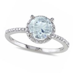 Allurez Diamond & Round Aquamarine Fashion Ring Sterling Silver... ($200) ❤ liked on Polyvore featuring jewelry, rings, white, white diamond ring, aquamarine jewellery, allurez jewelry, white diamond jewelry and sterling silver diamond rings