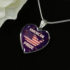 American Pride Necklace - American Flag Necklace - Memorial Military J – ShineOn Working Mother, Working Moms, American Pride, American Flag, Military Jewelry, Graduation Necklace, Glass Coating, Custom Engraving, Red And White